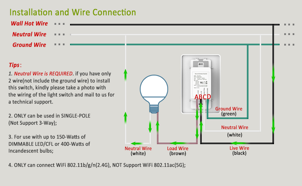 Smart Dimmer Switch for Dimmable LED Lights, WiFi Light Switch ... on led lamp wiring diagram, tube light wiring diagram, fluorescent lamp wiring diagram, metal halide lamp wiring diagram,