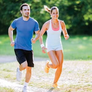 active couple running outside