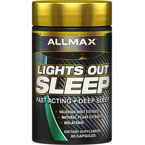 allmax nutrition lights out melatonin sleep athletes gaba l-theanine relax no drowsy