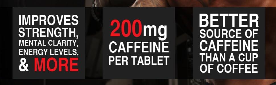 improves strength mental clarity energy levels 200mg caffeine