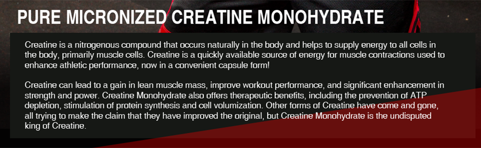 pure micronized creatine monohydrate capsules muscle energy strength mass