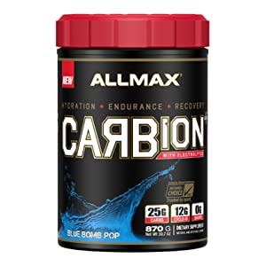 blue pop carbion flavor energy recovery drink