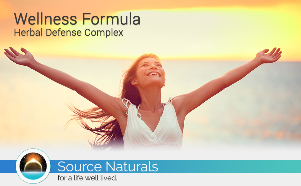 wellness formula herbal defense banner woman outside smiling with arms out