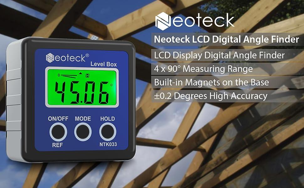 Neoteck Digital Angle Finder LCD Digital Angle Gauge Waterproof Protractor Incli