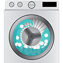 A washer-machine with luster balls being cleaned for reuse