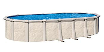A Frame Ladder System Lake Effect Fallston 15ft Round Above Ground Swimming Pool Complete Bundle Kit Widemouth Skimmer Boulder Swirl Pattern Overlap Liner Filter Tank 52in Height 1 HP Pump