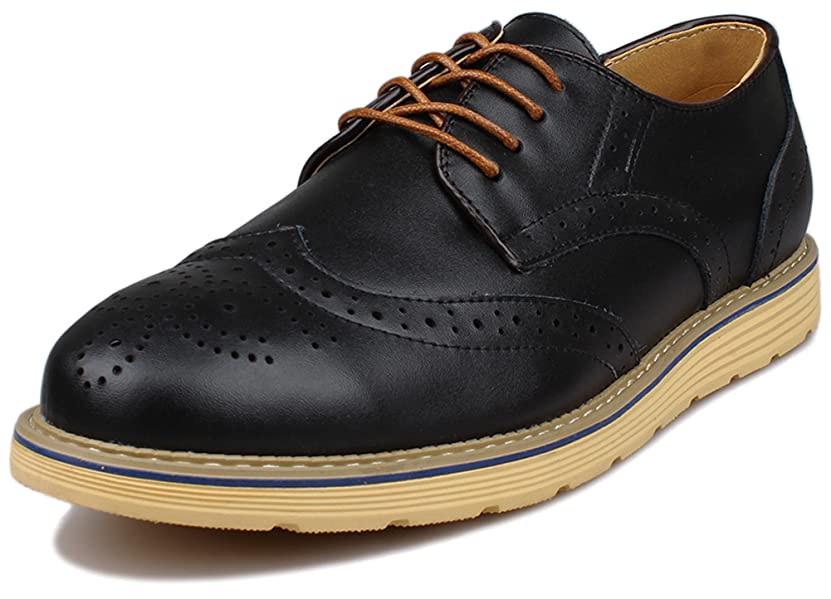 Kunsto Men's Leather Brogue Shoes