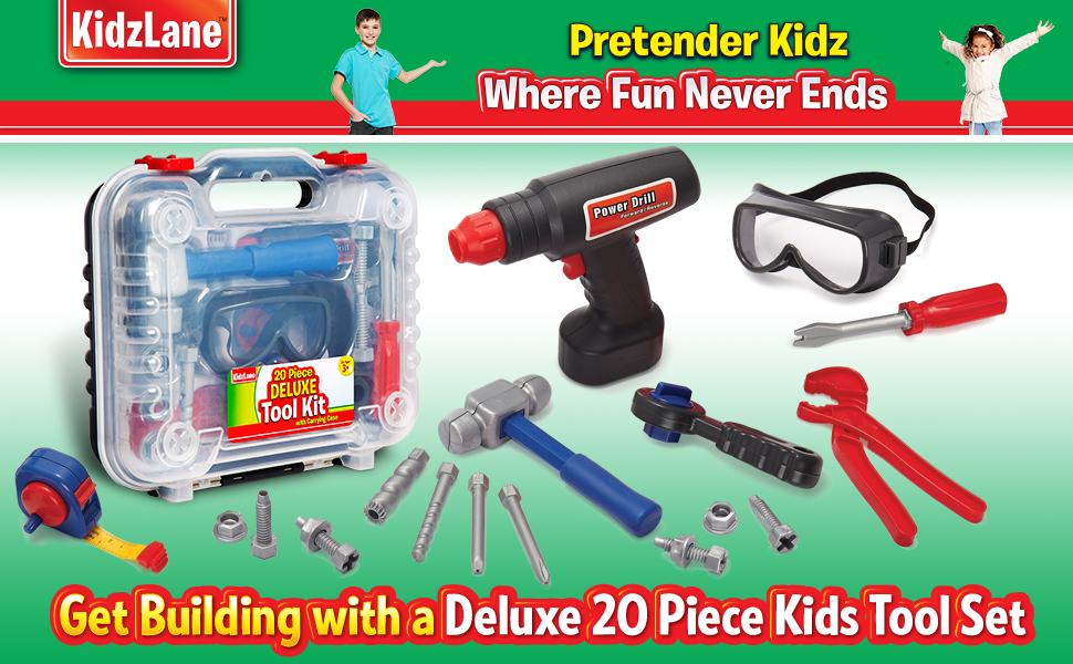 ca7dd3c11ce7 Amazon.com  Durable Kids Tool Set with Electronic Cordless Drill and ...