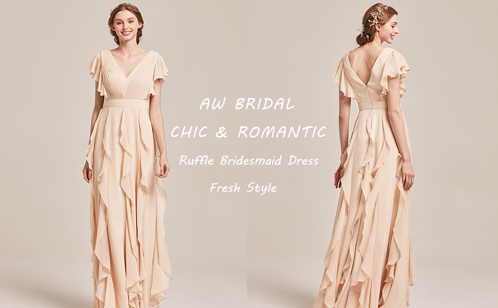 Ruffle Long Bridesmaid Dresses