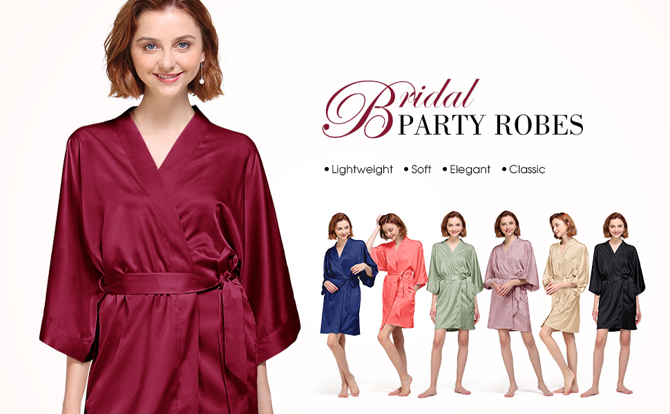 AW BRIDAL Womens Dressing Gown Kimono Robe Satin V-Neck Bathrobe Nightwear Sleepwear for Women Wedding Party XS-XXL
