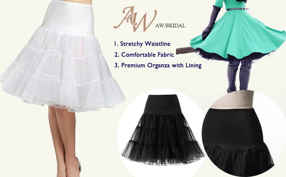 36d681e3da AW Women 50s Petticoat Skirts Rockabilly Retro Underskirt Crinoline ...