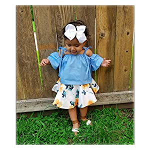 5d145694a68 Amazon.com  MOLYHUA Baby Girls Outfits Blue