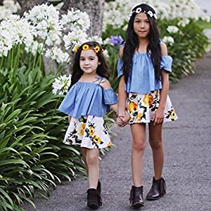 Floral Print Skirt Set 2Pcs Off-Shoulder Tops MOLYHUA Baby Girls Outfits Blue