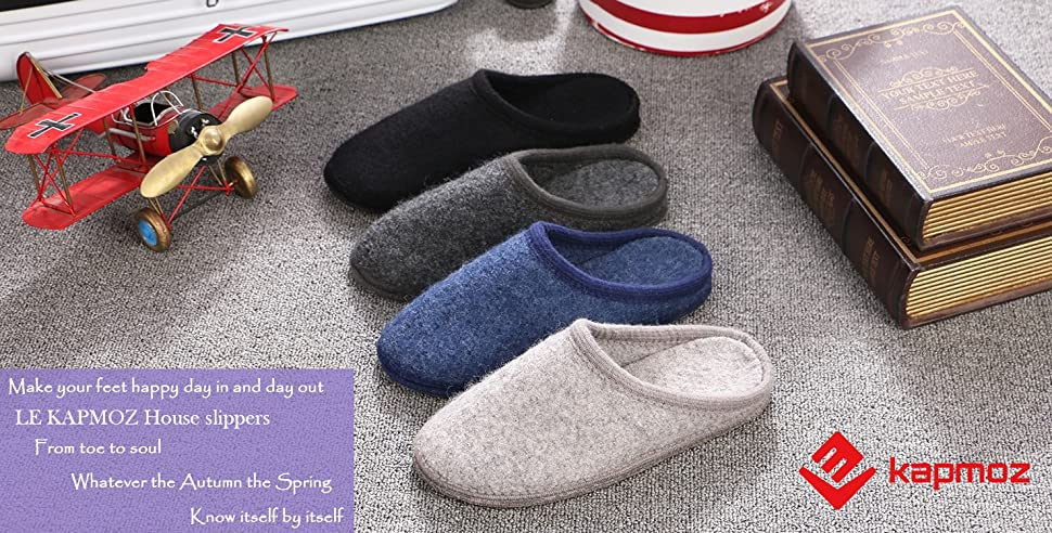 Amazon.com | LE KAPMOZ Men\'s Breathable Wool House Slippers For ...