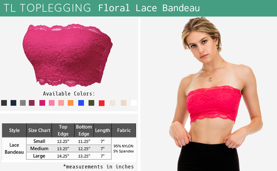 27a6e5a1b7f TL Women s Full Floral Lace Strapless Seamless Stretchy Bandeau Tube Bra Top