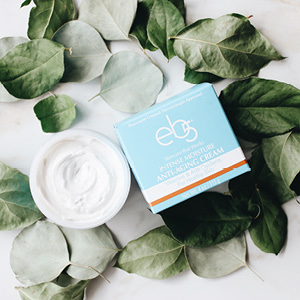 eb5 intense moisture cream in a bed of leaves