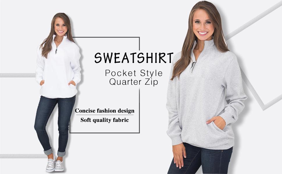 Womens Long Sleeves Quarter Collar 1/4 Zip Fleece Pullover Sweatshirts Oversized