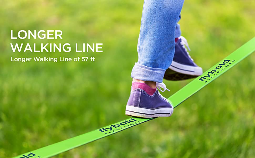 flybold Slackline Kit with Tree Protectors 57 feet Easy Set up Instruction Booklet and Carry Bag Set Outdoor Fun for Family Adults Children Kids