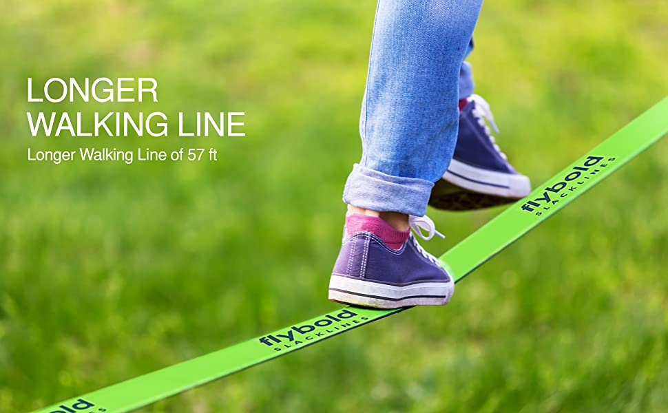 flybold Slackline Kit with Training Line Tree Protectors Ratchet Protectors Arm Trainer 57 feet Easy Set up Instruction Booklet and Carry Bag Complete ...