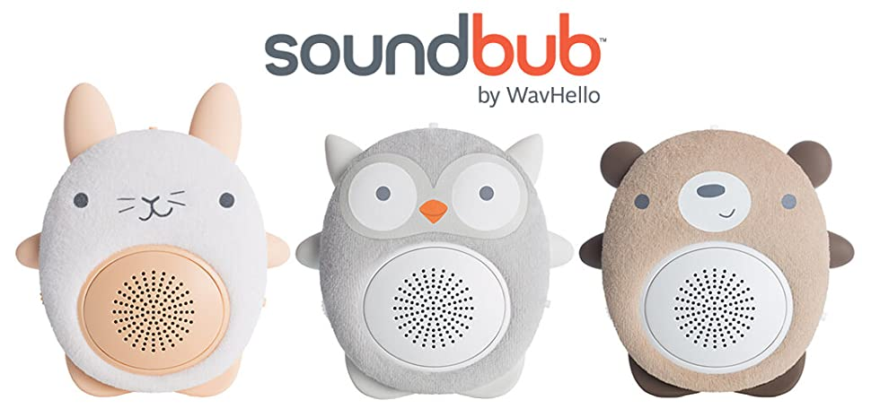 WavHello SoundBub, White Noise Machine and Bluetooth Speaker | Portable and Rechargeable Baby Sleep Sound Soother – Ollie The Owl, Grey