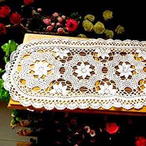 Cotton Floral Oval Handmade Crochet Lace Table Runner Beige
