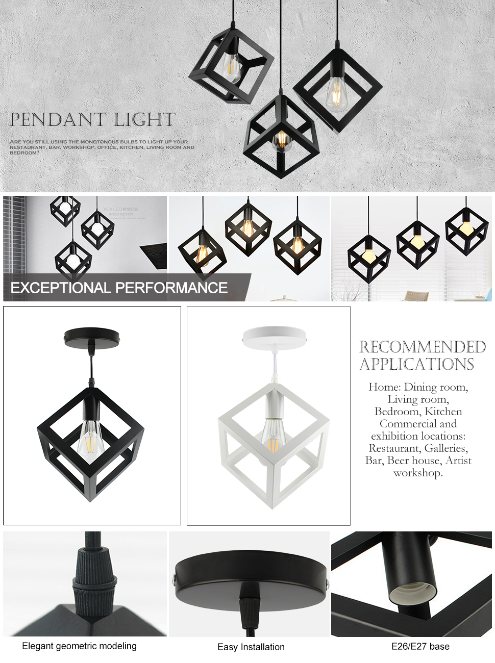 B2ocled Pendant Light Nordic Style Geometric Hanging Lamp White Basic Household Wiring Fixture Elegant And Beautiful Shape Room Lighting It Can Create A Romantic Atmosphere Give Sparkle To Brilliant Evenings Iron Materials Reflecting The
