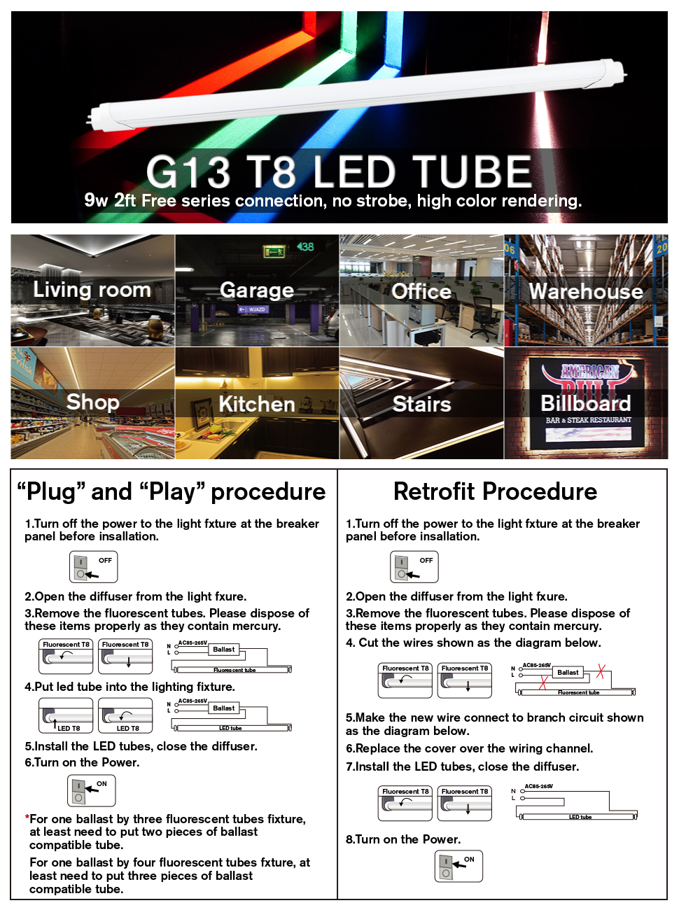 B2ocled 4ft T8 Led Tube Light Blue 18w 6500k Dual End Powered 2 Bulb Wiring Diagram 6500kdual Blueclear Coverinstant Ont8 T10 T12 Fluorescent Bulbs Replacement4 Pack
