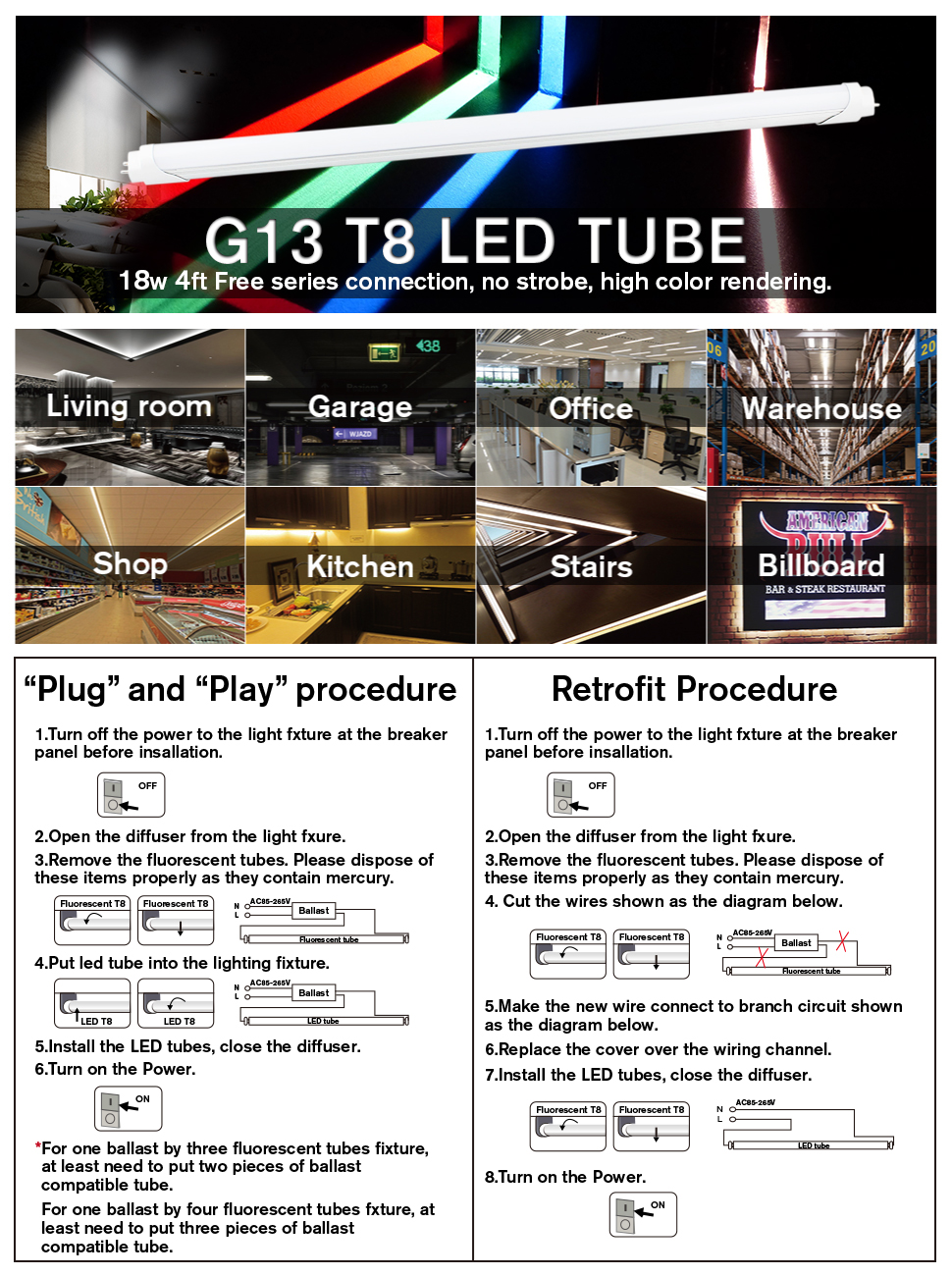 B2ocled 4ft T8 Led Tube Light 18w 6500k Dual End Powered Green 4 Wire Diagram For Fixture 6500kdual Greenfrosted Coverinstant Ont8 T10 T12 Fluorescent Bulbs Replacement4 Pack