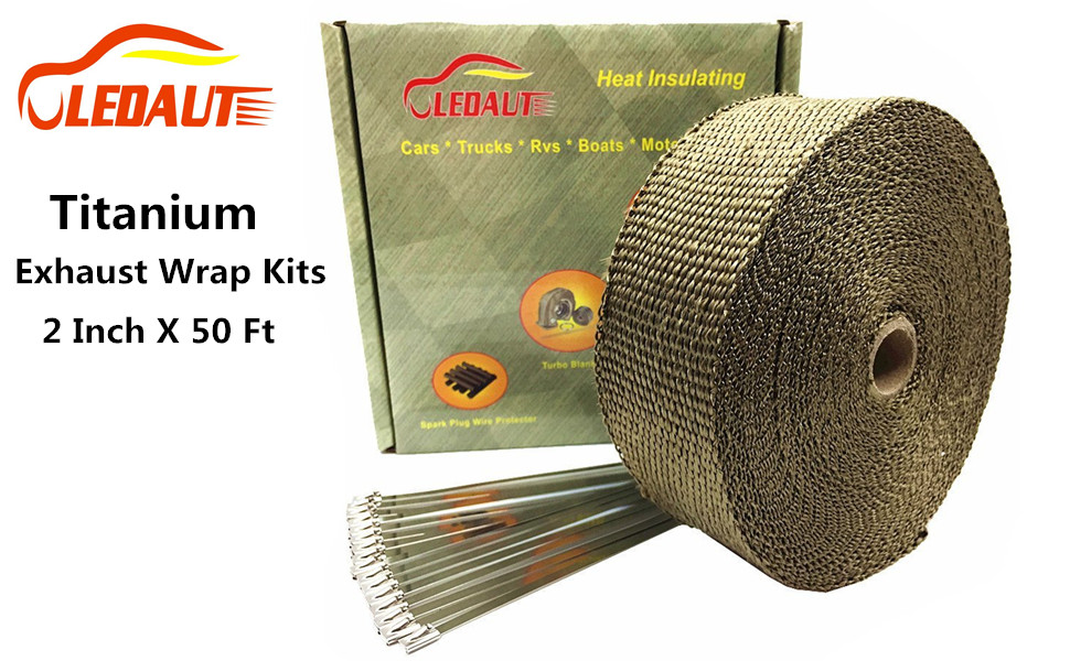 Exhaust Heat Wrap >> Amazon Com Ledaut 2 X 50 Titanium Exhaust Heat Wrap Roll For