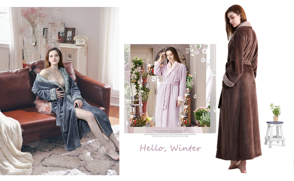 b41ff57e66 Women Long Robes Soft Fleece Winter Warm Housecoats Womens Bathrobe ...