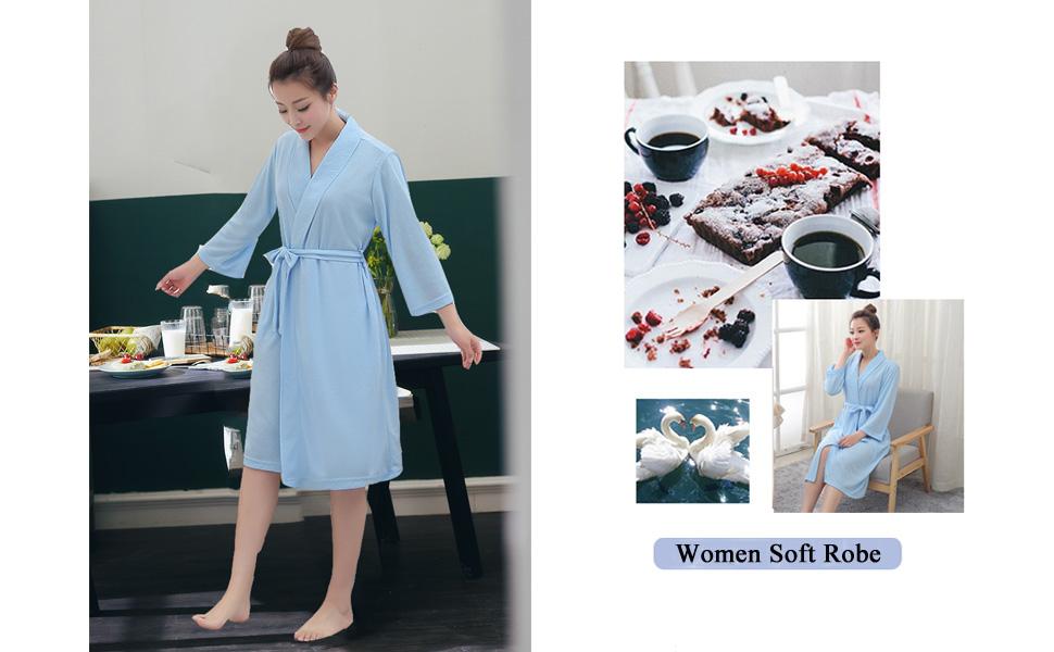 006e769e1c Bath Robe for Womens Soft Kimono Bathrobe Waffle Knee-Length Hotel ...