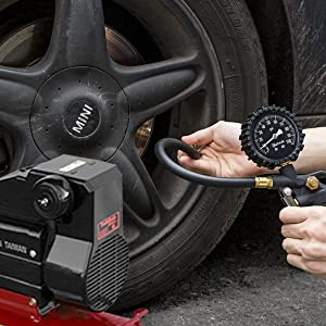 Black AstroAI Tire Inflator with Pressure Gauge 100 PSI Air Chuck and Compressor Accessories Heavy Duty with Large 2.5 Easy Read Glow Dial Durable Rubber Hose and Quick Connect Coupler
