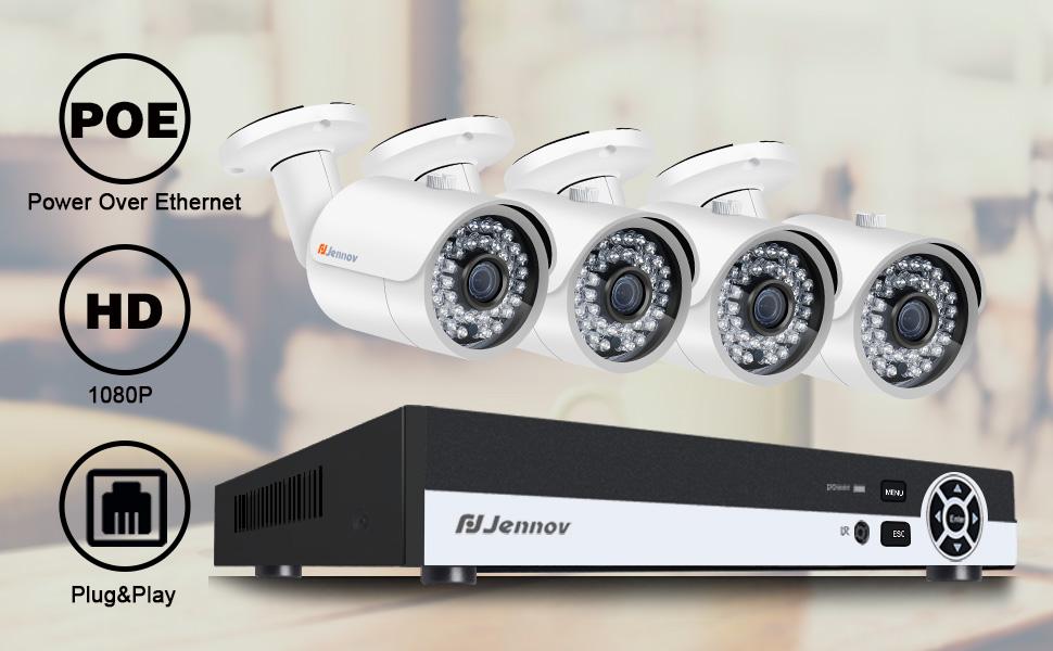 Amazon Com Jennov Poe Cctv Security Nvr System 4 Channel