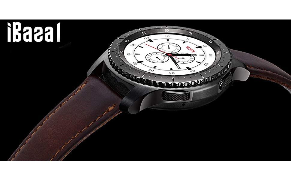 iBazal Gear S2 Classic Leather Band 42mm, Vintage Gear S2 Classic Band 20mm Genuine Leather Strap Compatible for Samsung Galaxy Watch/Gear Sport/Gear ...