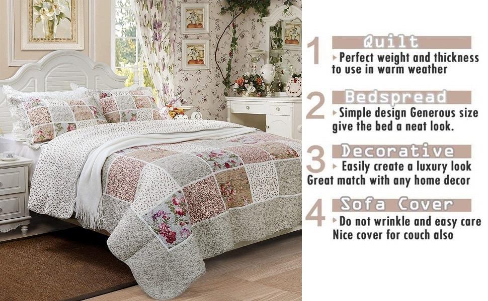 Amazon.com: Brandream Queen Size Luxury Patchwork Colcha ...