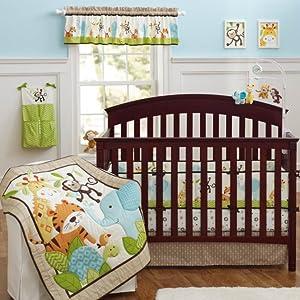 Nursery Bedding Sets Boy.Brandream Crib Bedding Sets For Boys With Bumpers Nursery Jungle Baby Bedding Crib Set Elephant Monkey 9pcs Unisex