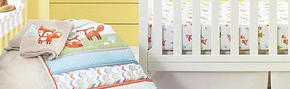 fox forest woodland baby nursery crib bedding sets for boys girls cotton bedding for baby crib