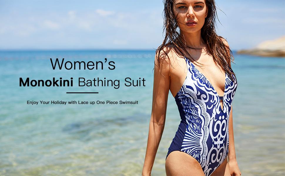 7e8b947d4b9b9 CharmLeaks Lace-up Backless One Piece Bathing Suit Swimsuit Swimwear ...