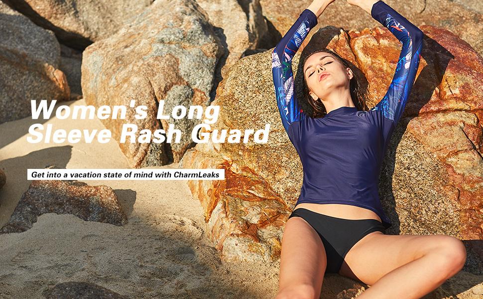 Amazon.com: CharmLeaks Long Sleeve Rash Guard Swimwear UPF