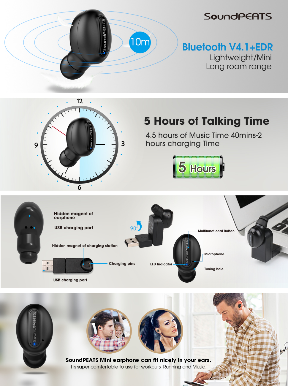 SoundPEATS Mini V4.1 Bluetooth Wireless Headphone [4.5 Hours Music Time, 2 Magnetic USB Charger] with Microphone
