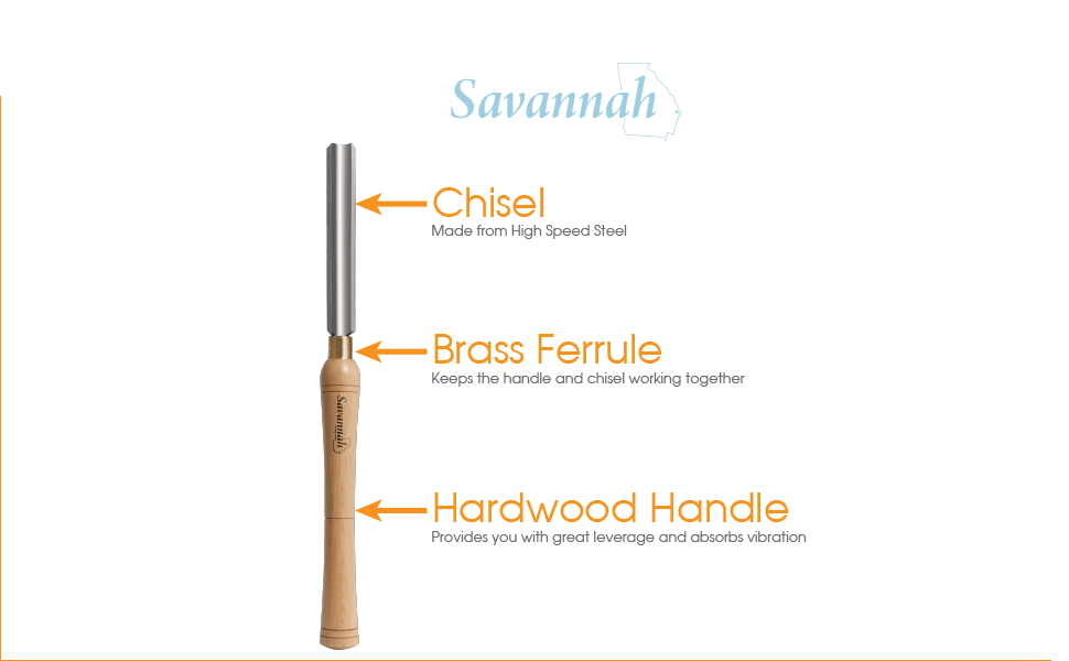 Savannah 7173 HSS Lathe Chisel Set 8 Piece Set For Wood Turning  Hardwood  Handles, High Speed Steel, Brass Ferrules, and Wooden Case For Storage