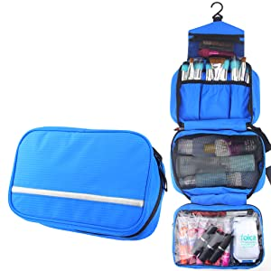 MONSTINA Travel Toiletry Bag Cosmetic Organizers with Hanging Hook Use in Hotel,Bathroom (Toiletry Bag, Blue)