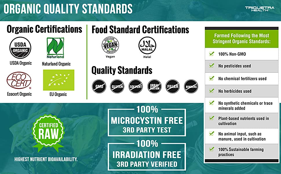 spirulina chlorella organic green superfood tablets