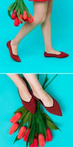 red flats dasti knitted ballets
