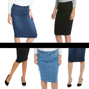 73c0460a3f69 Esteez Women's Denim Pencil Skirt - Knee Length Beverly Hills Light ...