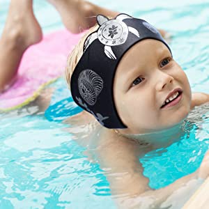 Child or Adult Swimming Ear Band Neoprene Headband w//Ear Plugs for Ear Protect