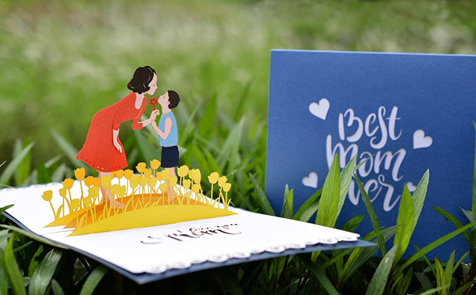 Best Mom Ever Pop Up Card (son and mom)