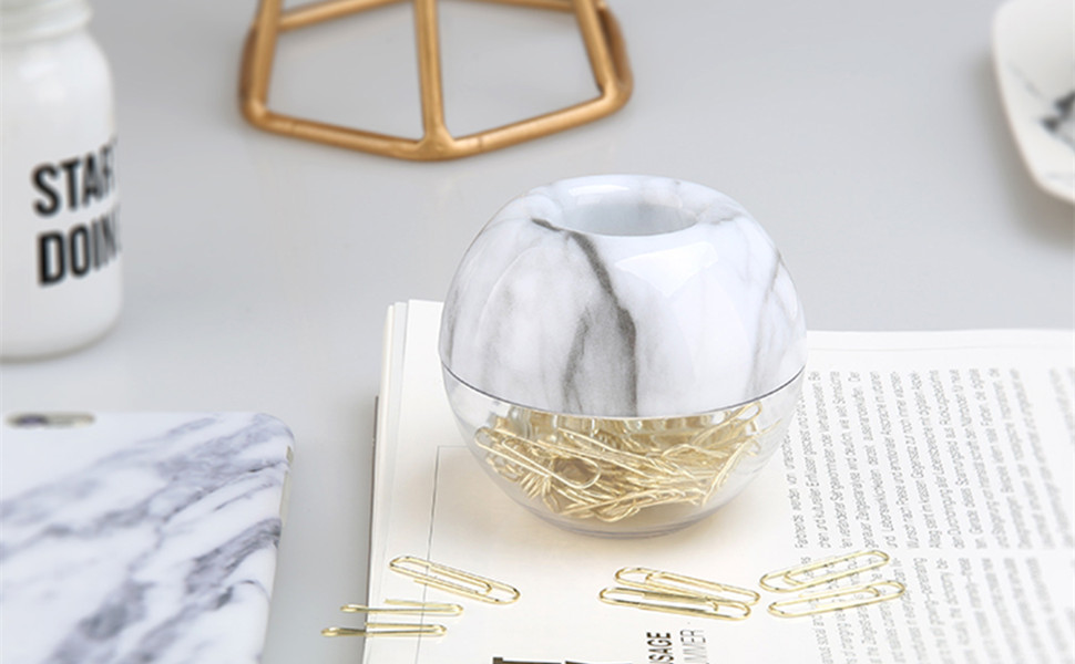 white marble paper clips dispenser desk organizer