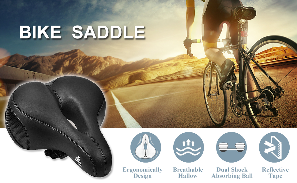 Road Bike Comfort Saddle Bicycle Cycling Riding Seat Cushion w// Reflective Strip