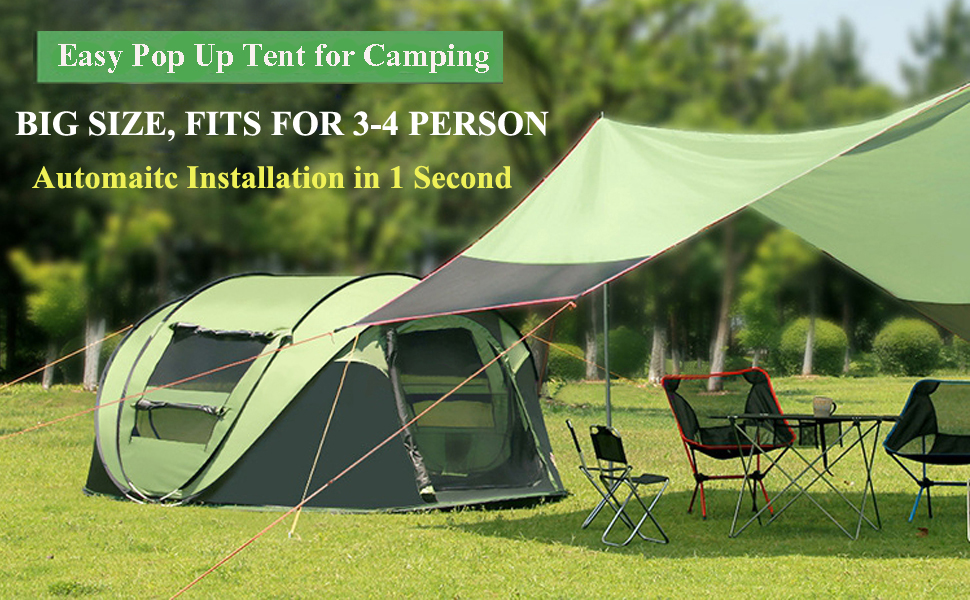 C&ing Tent Banner & Amazon.com : AYAMAYA Camping Tents 3-4 Person/People Easy Up Instant ...